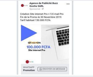Aperçu Publicité Facebook- Whatsapp